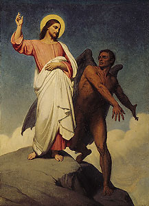 The devil tempting Jesus in the desert